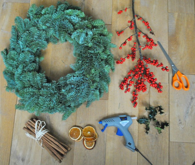 berries wreath green pine scissors glue holly cinnamon orange home