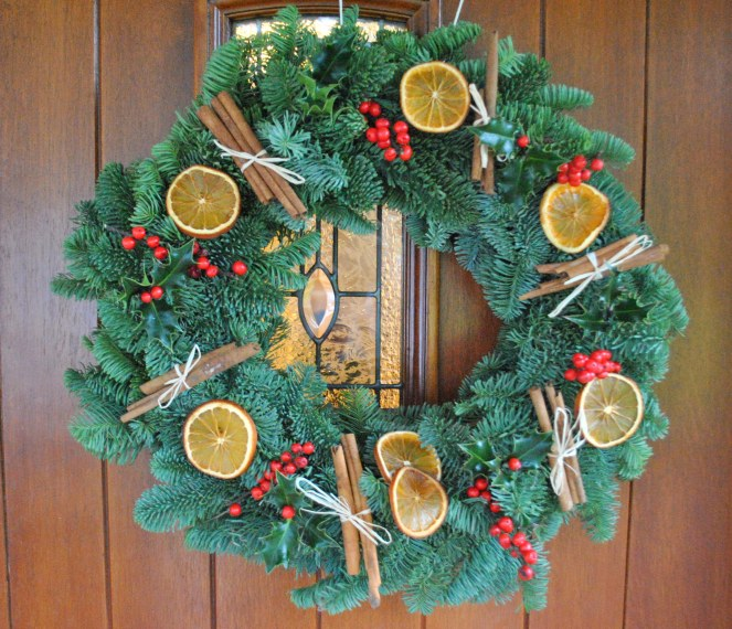 Christmas Holiday wreath finished product door hallway home porch DIY easy