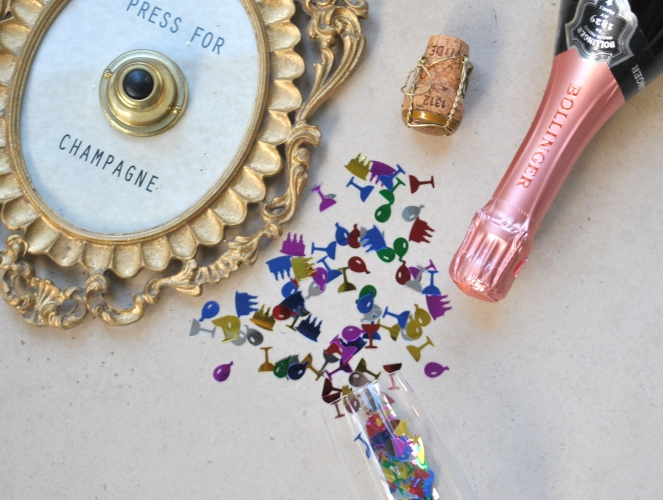 press for champagne, confetti, champagne, bollinger, pink, confetti, fun, new year, resolution