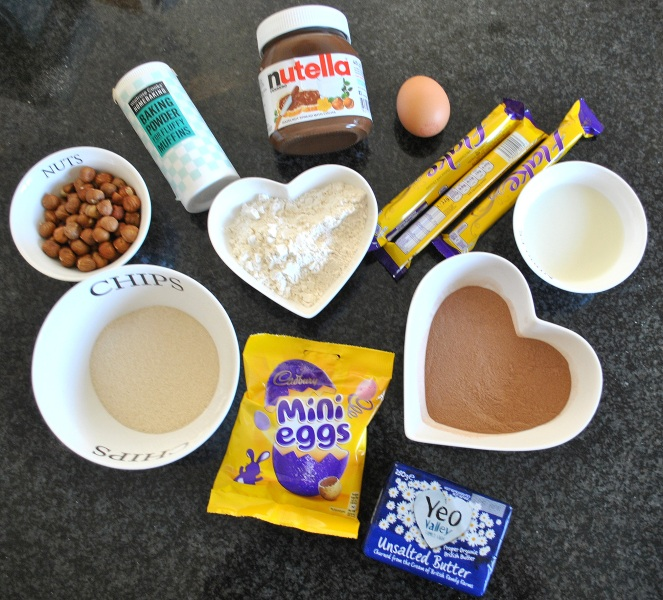 Hazelnut cupcake ingredients mini eggs flake nutella