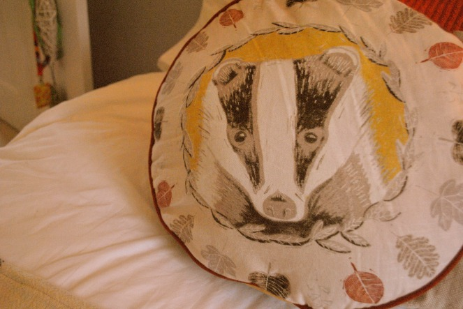 Autumn badger pillow