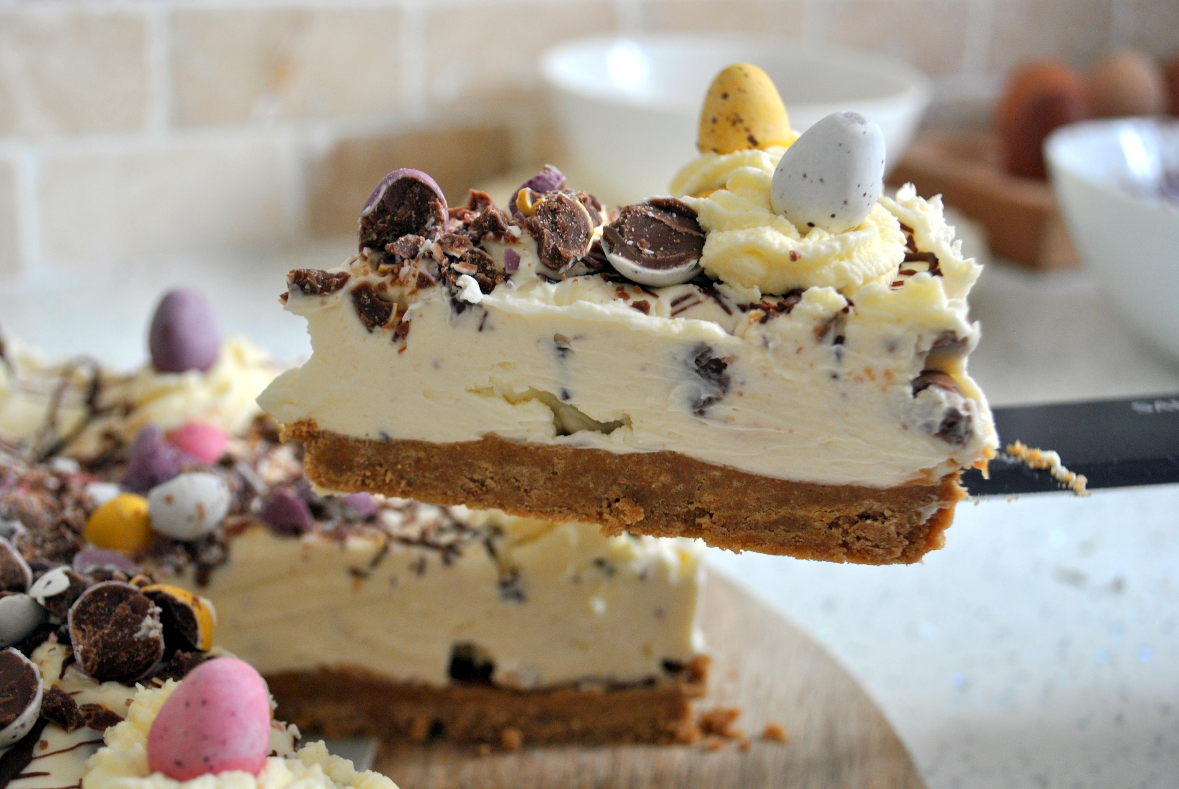 mini egg cheesecake slice